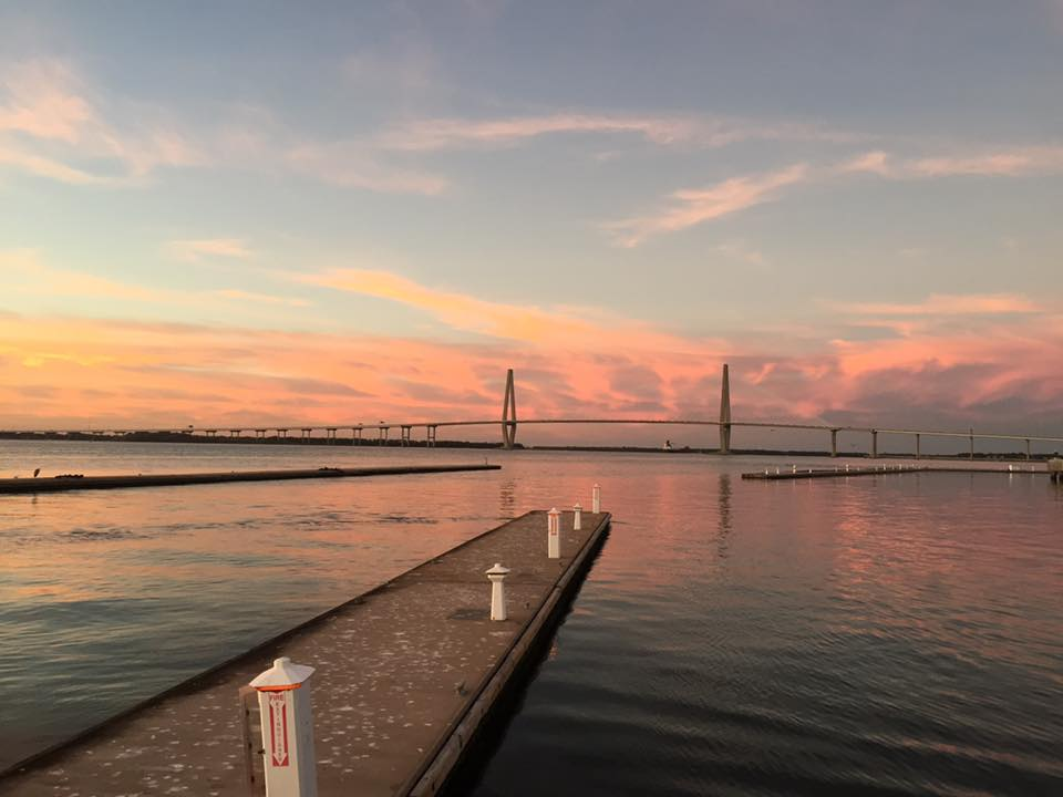 Bridge at sunset from Patriots Point